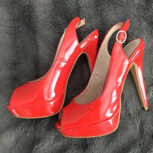 Open Toe Red (FAHIMA) ALDO Heels | Size 6.5